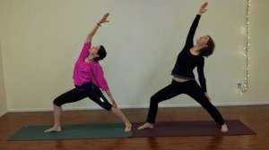 Double the pleasure (2 yogis reaching)