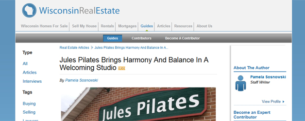 Author Pamela Sosnowski article in WRE about Jules Pilates Studio