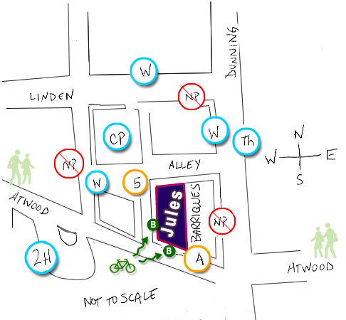 Drawn map shows Atwood bike and car parking area available to Jules Pilates clients