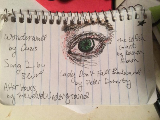 Eyeball drawing on spiral notepad